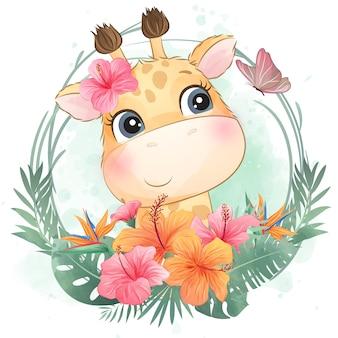 Pequeño retrato lindo de la jirafa con floral