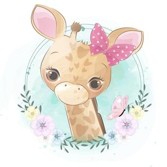 Pequeño retrato lindo de la jirafa