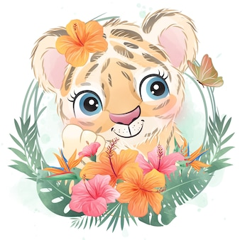 Pequeño retrato lindo del tigre con floral