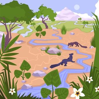 Pequeño río en la jungla