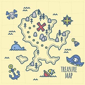 Pequeño tesoro de capitán y mapa de aventuras para niños