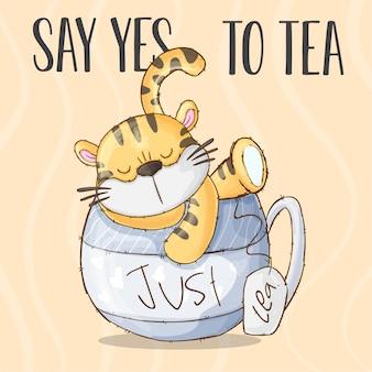 Pequeño tigre en la taza de té-vector