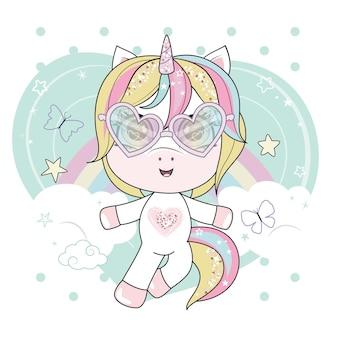 Pequeño unicornio blanco con gafas de sol en forma de corazón volando en los cielos.
