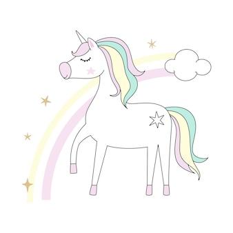 Pequeño unicornio blanco lindo aislado en whie