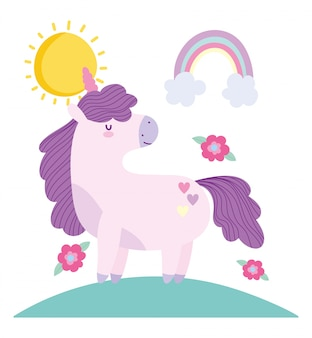Pequeño unicornio flores arco iris fantasía animal mágico dibujos animados