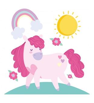 Pequeño unicornio flores fantasía magia animal cartoon