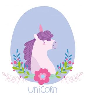 Pequeño unicornio flores fantasía magia misterio animal cartoon