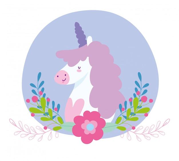 Pequeño unicornio flores ramas fantasía magia animal cartoon