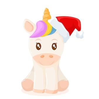 Pequeño unicornio con gorro navideño