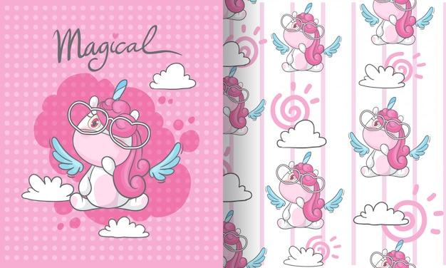 Pequeño unicornio en la ilustración de patrones sin fisuras de cielo para niños