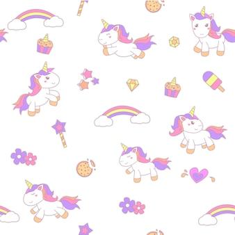 Pequeño unicornio ilustración de patrones sin fisuras de fondo