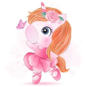 Pequeño unicornio lindo con baile de ballet