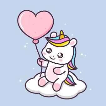 Pequeño unicornio lindo bebiendo té de burbujas ilustración