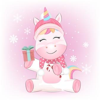Pequeño unicornio lindo y ilustración acuarela de caja de regalo