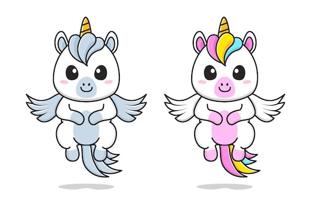 Pequeño unicornio lindo y pegaso volando