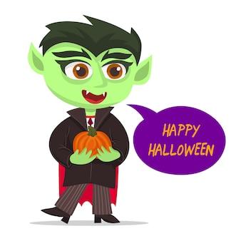 Pequeño vampiro sosteniendo una calabaza