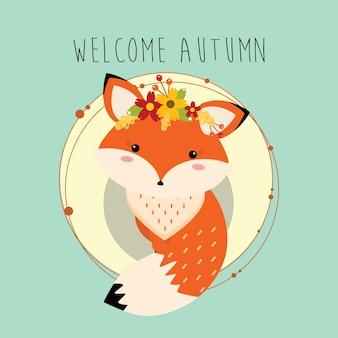 Pequeño zorro acogedor otoño