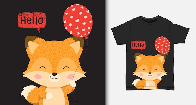 Pequeño zorro lindo que sostiene un globo. con diseño de camiseta.