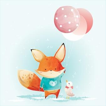 Pequeño zorro sosteniendo globos de navidad