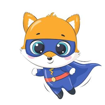 Pequeño zorro de superhéroe para niños. ilustración vectorial de dibujos animados.
