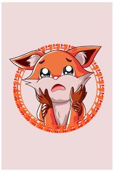 El pequeño zorro triste perdiendo a su amigo ilustración.