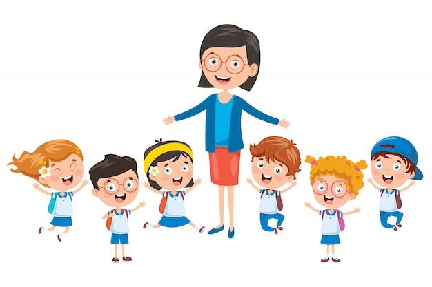 Pequeños alumnos con su maestra