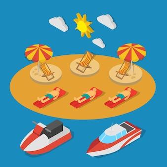 Pequeños barcos cerca de la playa con personas durante la composición isométrica del baño de sol en la ilustración de vector de fondo azul