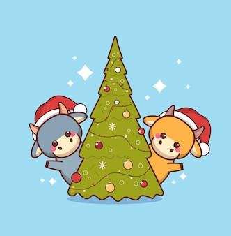 Pequeños bueyes con sombreros de santa cerca del árbol de navidad feliz año nuevo chino 2021 tarjeta de felicitación linda mascota de las vacas personajes de dibujos animados ilustración vectorial de longitud completa