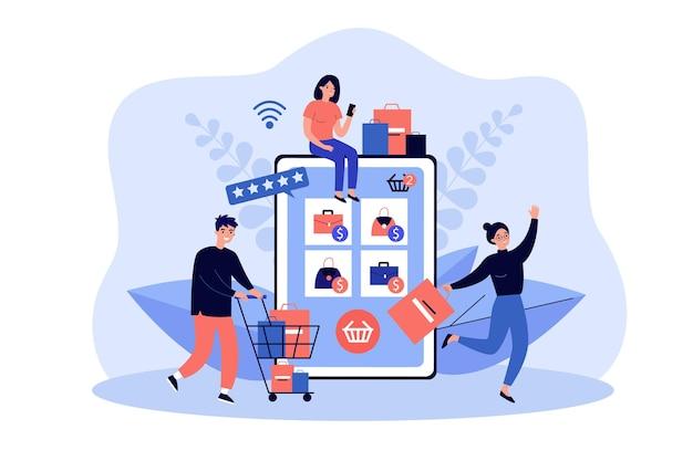 Pequeños clientes que compran productos en la tienda en línea con una tableta gigante.
