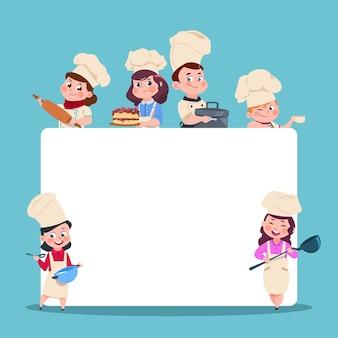 Pequeños cocineros. chef de niños de dibujos animados con gran pancarta blanca en blanco.