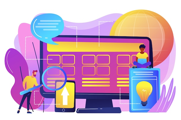 Pequeños desarrolladores de personas en la computadora que trabajan en el sistema central. desarrollo del sistema central, solución de software todo en uno, concepto de modernización del sistema central.