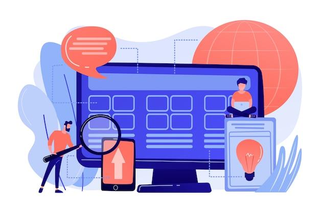 Pequeños desarrolladores de personas en la computadora que trabajan en el sistema central. desarrollo del sistema central, solución de software todo en uno, ilustración del concepto de modernización del sistema central
