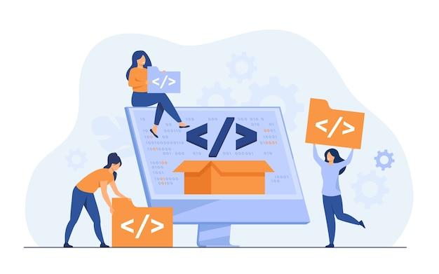 Pequeños desarrolladores que programan el sitio web para la ilustración de vector plano de plataforma de internet. programadores de dibujos animados cerca de la pantalla con código abierto o script. desarrollo de software y concepto de tecnología digital.