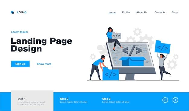 Pequeños desarrolladores que programan el sitio web para la plantilla de página de destino de la plataforma de internet