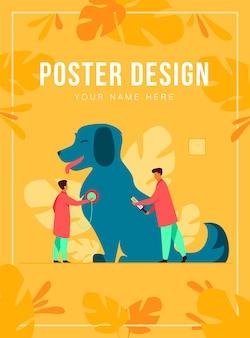 Pequeños doctores cuidando perro en la ilustración de vector plano de oficina veterinaria. clínica u hospital moderno para animales.