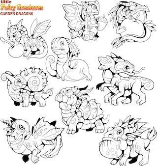 Pequeños dragones de dibujos animados