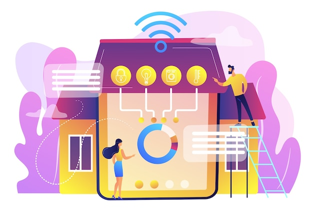 Pequeños empresarios en un innovador sistema de automatización del hogar inteligente. hogar inteligente 2.0, iot de próxima generación, hogar con concepto de inteligencia cognitiva.