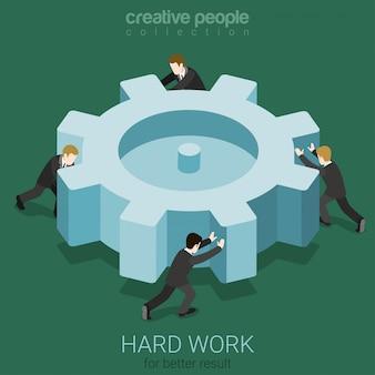 Pequeños empresarios que hacen girar el engranaje de la rueda dentada grande equipo de trabajo duro concepto de trabajo en equipo ilustración isométrica