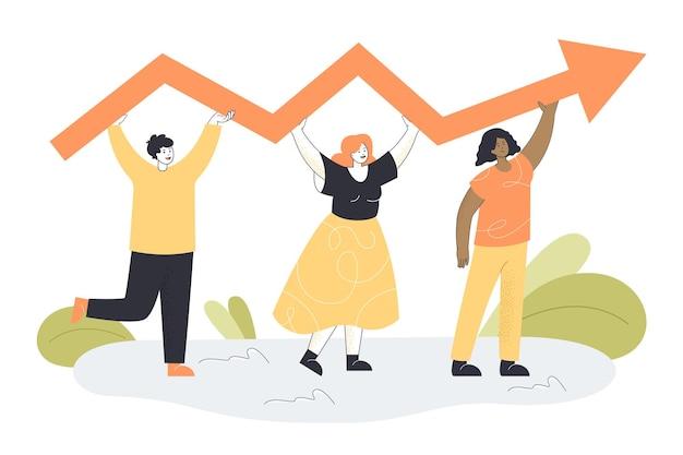 Pequeños empresarios sosteniendo la flecha juntos