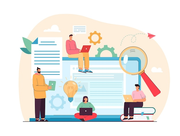 Pequeños escritores de contenido que crean artículos web ilustración plana