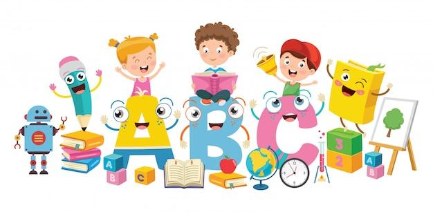 Pequeños estudiantes estudiando y leyendo libros