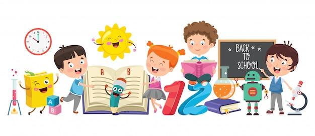 Pequeños estudiantes estudiando y leyendo