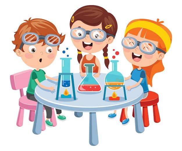 Pequeños estudiantes haciendo experimento químico