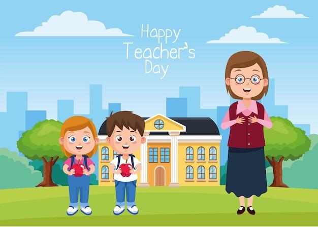 Pequeños estudiantes niños con manzanas y maestro en la escena escolar.