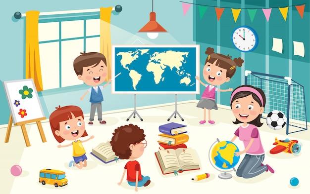 Pequeños estudiantes que estudian geografía
