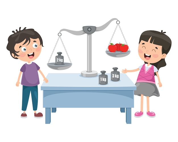 Pequeños estudiantes que usan la balanza de la justicia