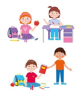 Pequeños estudiantes con útiles escolares aislados. de vuelta a la escuela. ilustración