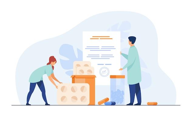 Pequeños farmacéuticos con prescripción médica y medicamentos