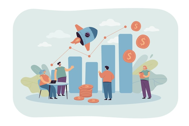 Pequeños gerentes de ventas que miran la ilustración plana de la tabla de crecimiento