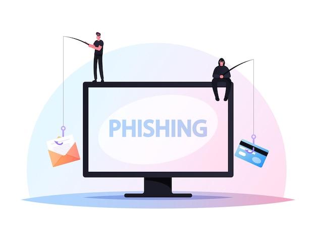 Pequeños hackers personajes masculinos sentados en una computadora enorme con varillas de phishing a través de internet